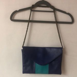 J crew blue and teal envelope purse